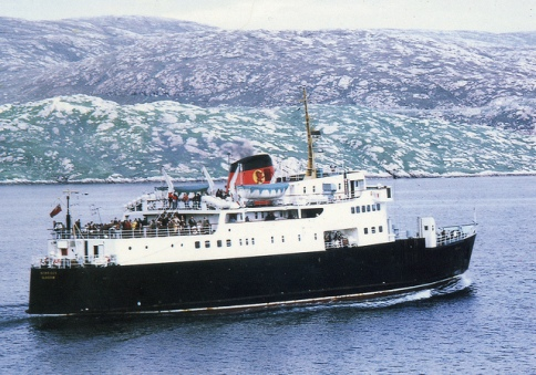 MV Hebrides sailing from Tarbert, Harris.